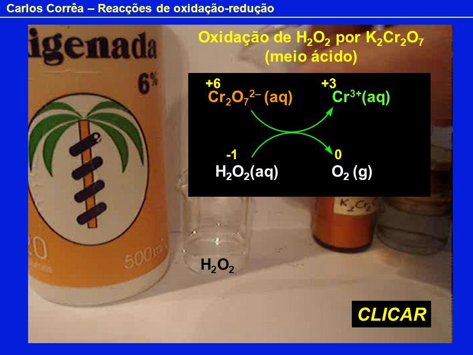 CLICAR Oxidação de H2O2 por K2Cr2O7 (meio ácido) Cr2O72– (aq) Cr3+(aq)