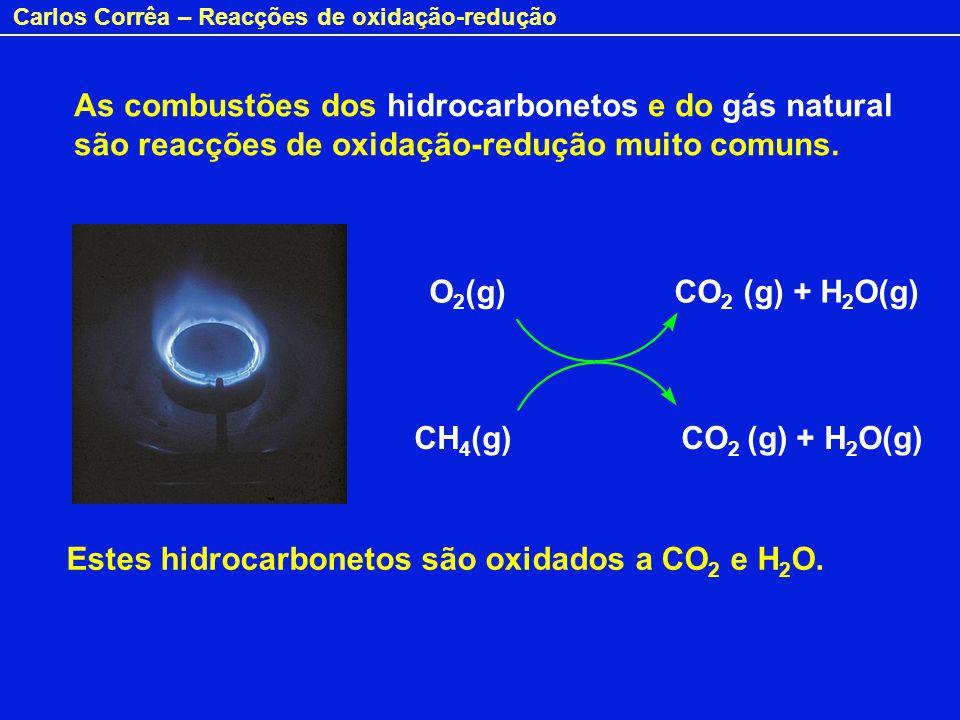 As combustões dos hidrocarbonetos e do gás natural são reacções de oxidação-redução muito comuns.