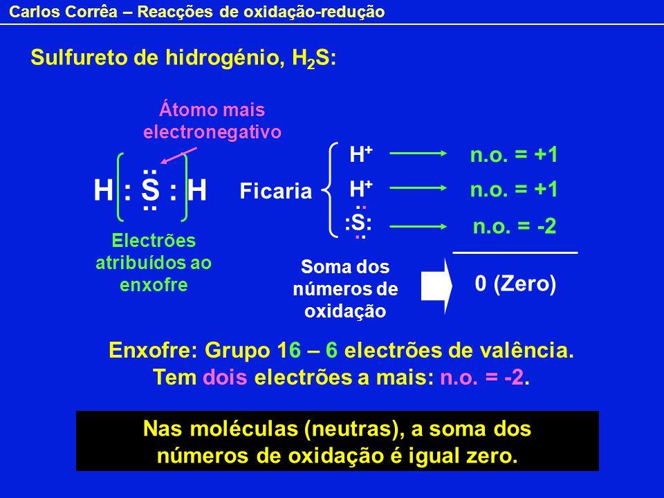 .. H : S : H Sulfureto de hidrogénio, H2S: H+ n.o. = +1 Ficaria H+