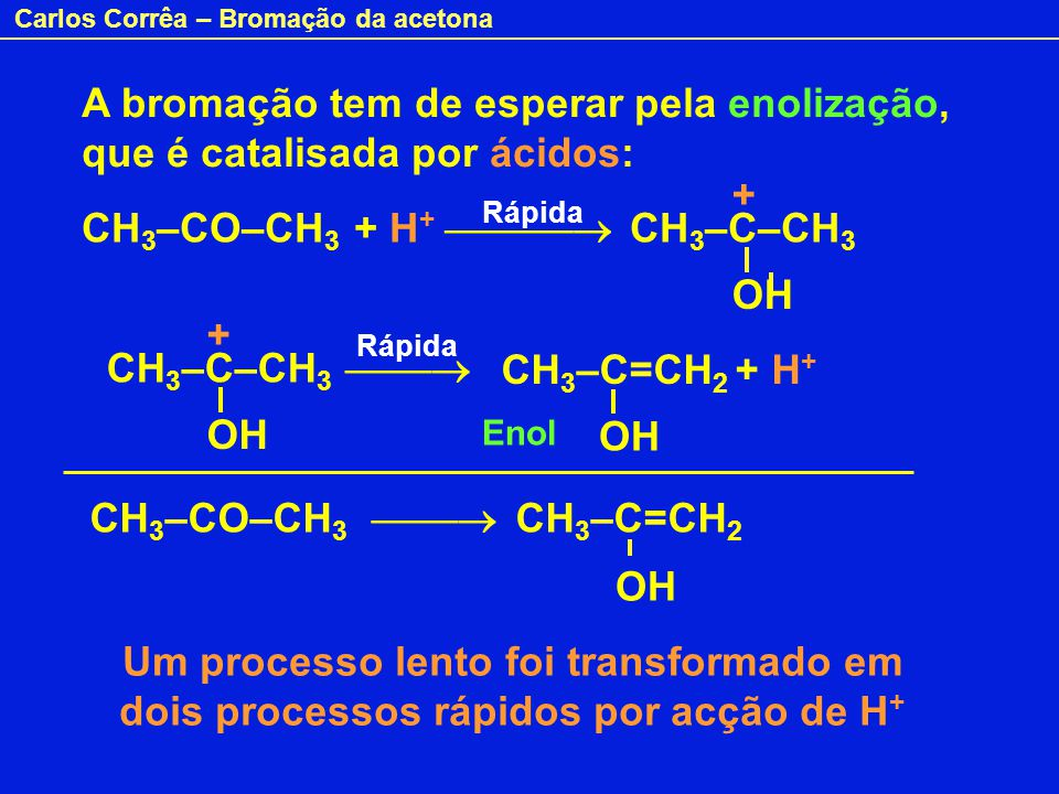 CH3–CO–CH3 + H+  CH3–C–CH3