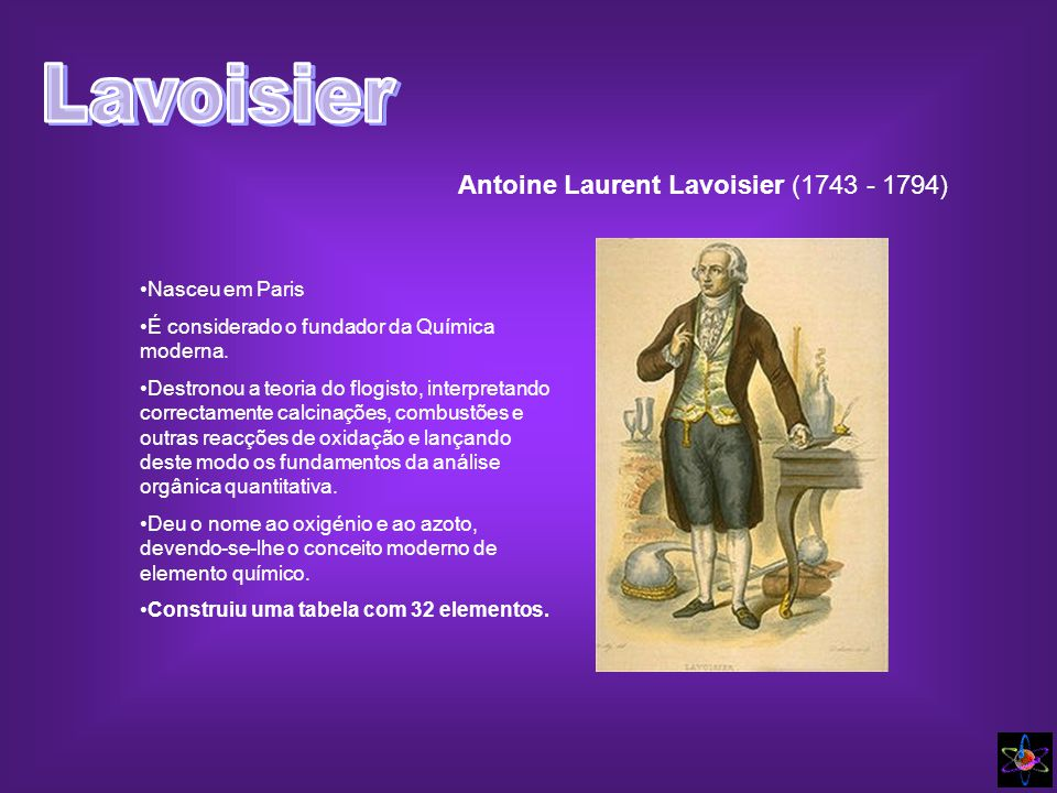 Antoine Laurent Lavoisier (1743 - 1794)