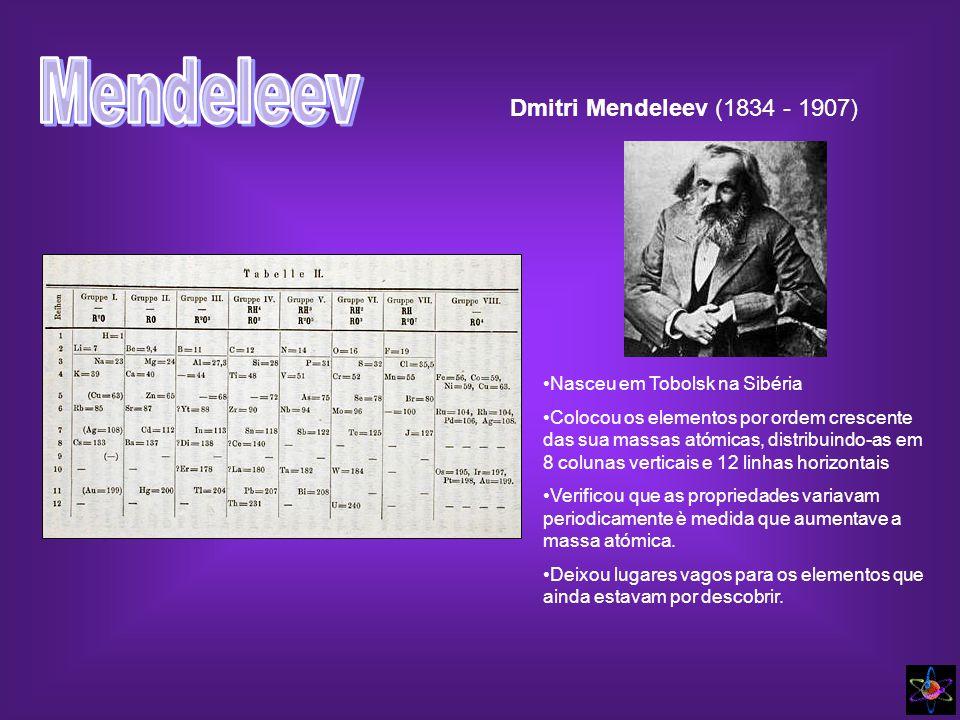 Mendeleev Dmitri Mendeleev (1834 - 1907) Nasceu em Tobolsk na Sibéria