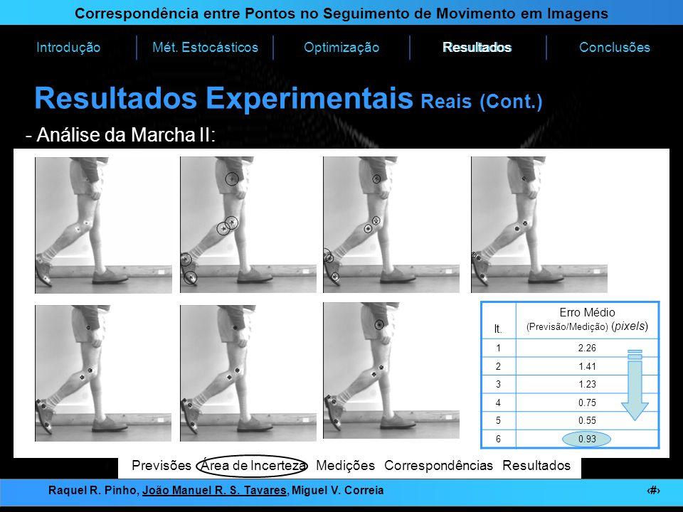 Resultados Experimentais Reais (Cont.)