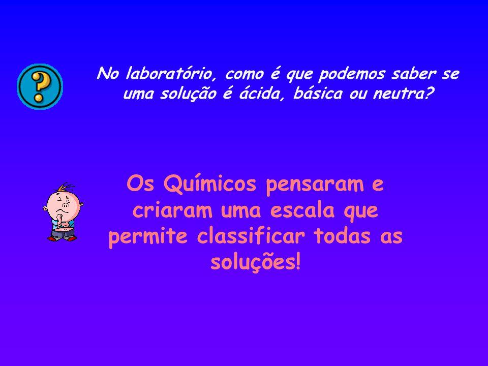 No laboratório, como é que podemos saber se uma solução é ácida, básica ou neutra