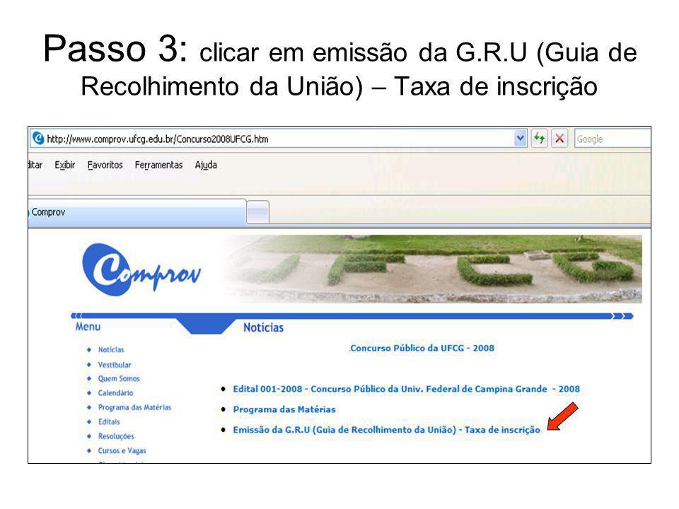 Passo 3: clicar em emissão da G. R