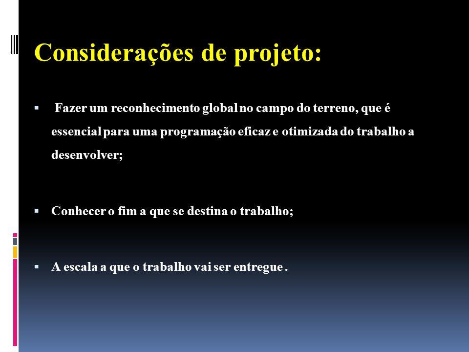 Considerações de projeto: