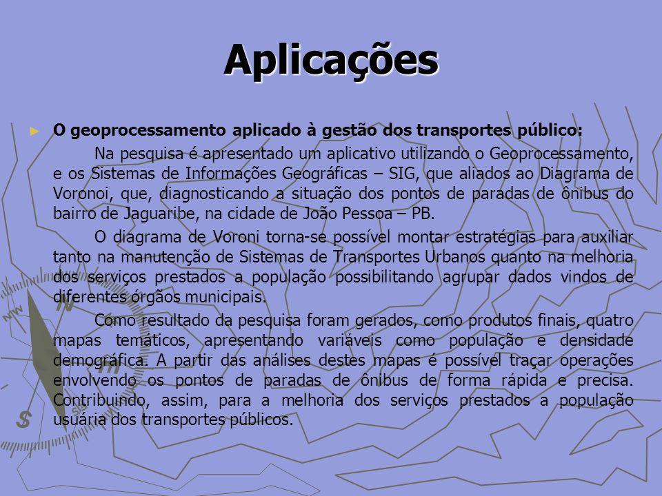 Aplicações O geoprocessamento aplicado à gestão dos transportes público: