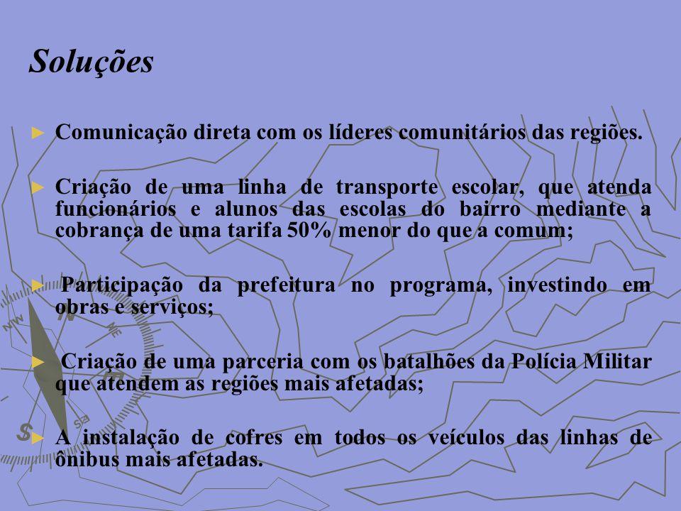 Soluções Comunicação direta com os líderes comunitários das regiões.