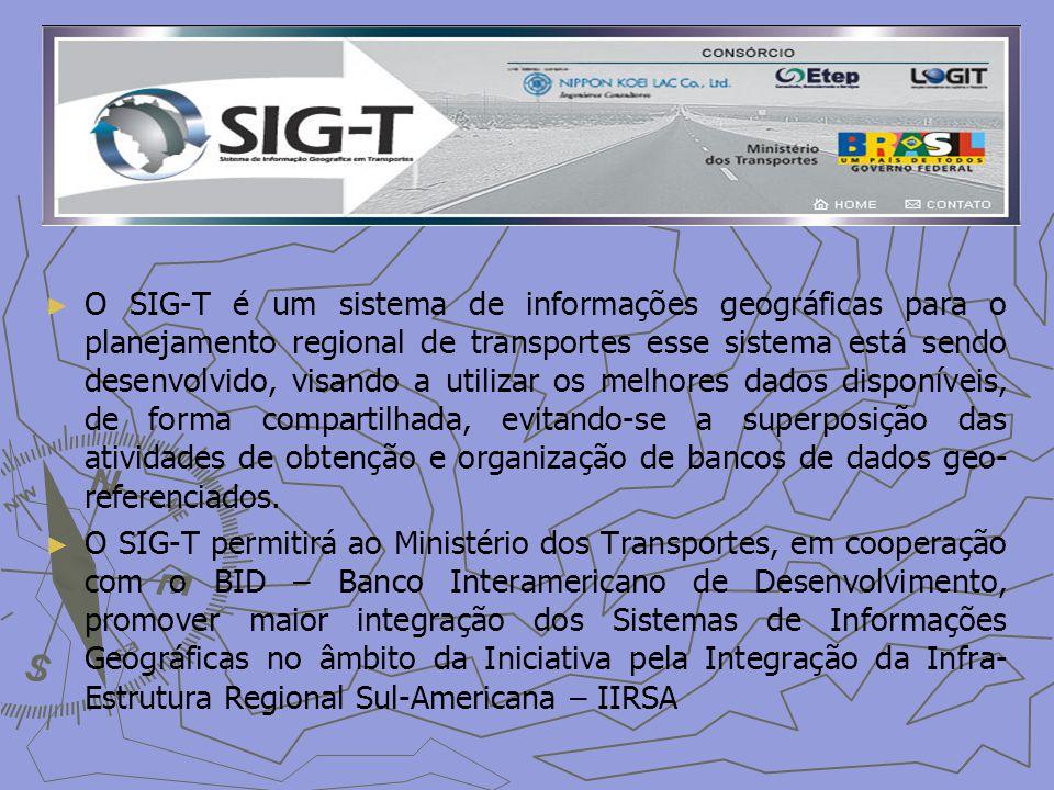 O SIG-T é um sistema de informações geográficas para o planejamento regional de transportes esse sistema está sendo desenvolvido, visando a utilizar os melhores dados disponíveis, de forma compartilhada, evitando-se a superposição das atividades de obtenção e organização de bancos de dados geo-referenciados.