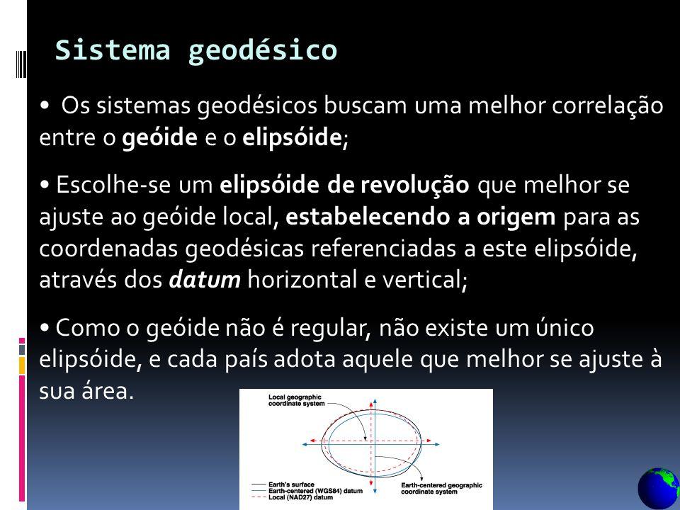 Sistema geodésico Os sistemas geodésicos buscam uma melhor correlação entre o geóide e o elipsóide;