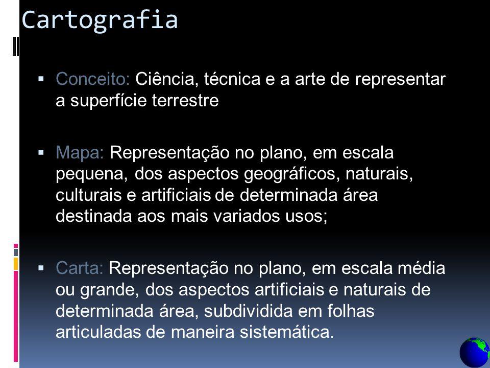 Cartografia Conceito: Ciência, técnica e a arte de representar a superfície terrestre.