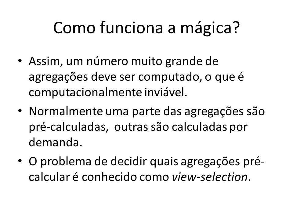 Como funciona a mágica Assim, um número muito grande de agregações deve ser computado, o que é computacionalmente inviável.