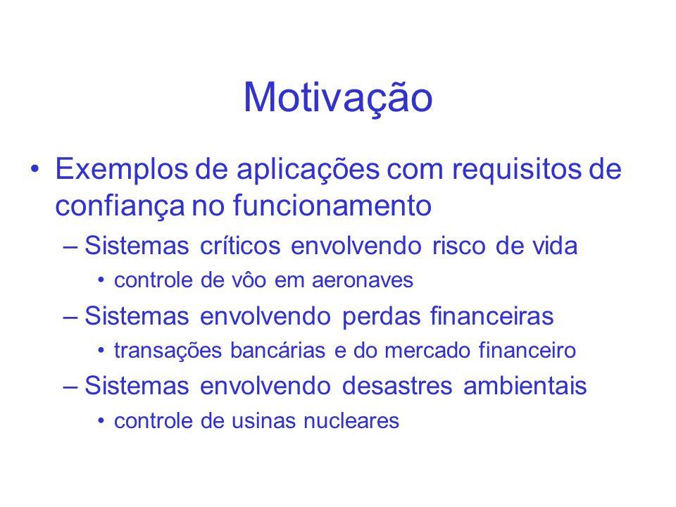 Motivação Exemplos de aplicações com requisitos de confiança no funcionamento. Sistemas críticos envolvendo risco de vida.