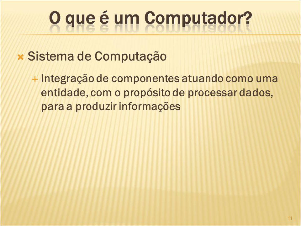 Sistema de Computação Integração de componentes atuando como uma entidade, com o propósito de processar dados, para a produzir informações.