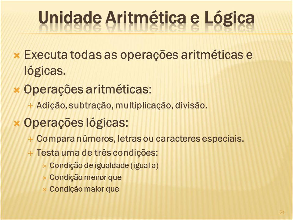 Executa todas as operações aritméticas e lógicas.