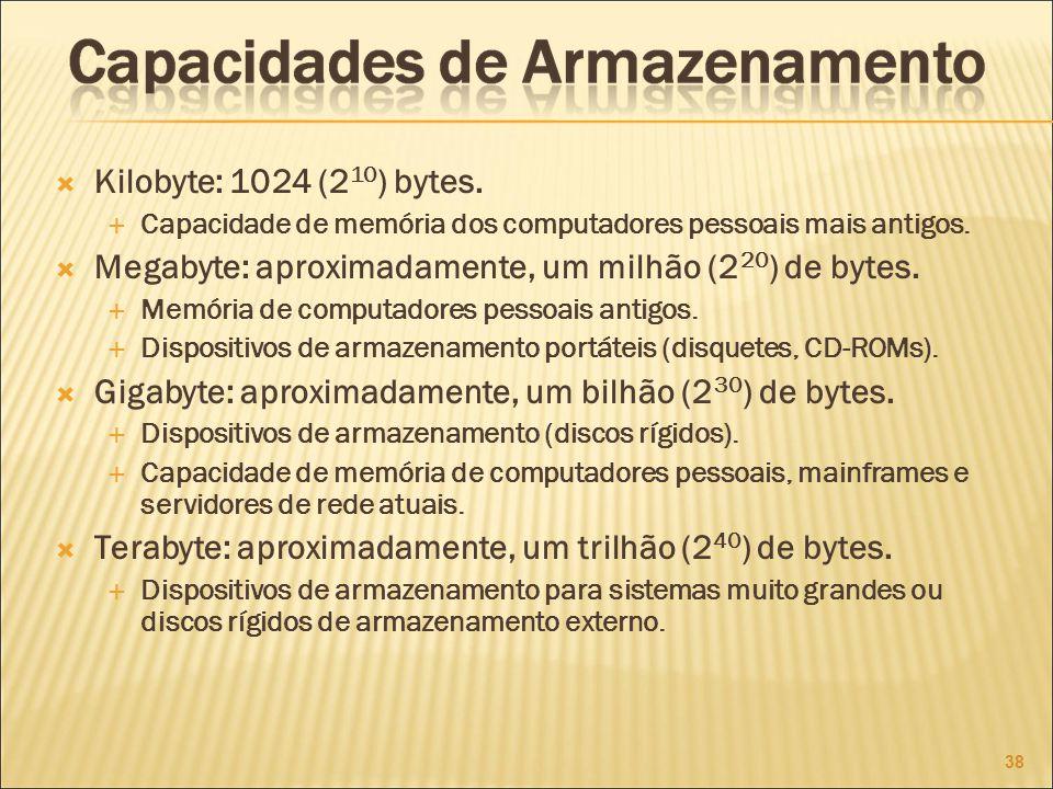 Megabyte: aproximadamente, um milhão (220) de bytes.
