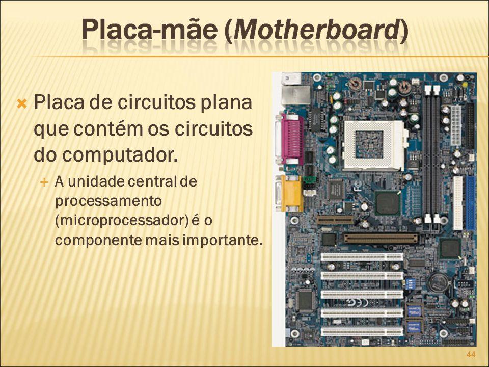 Placa de circuitos plana que contém os circuitos do computador.