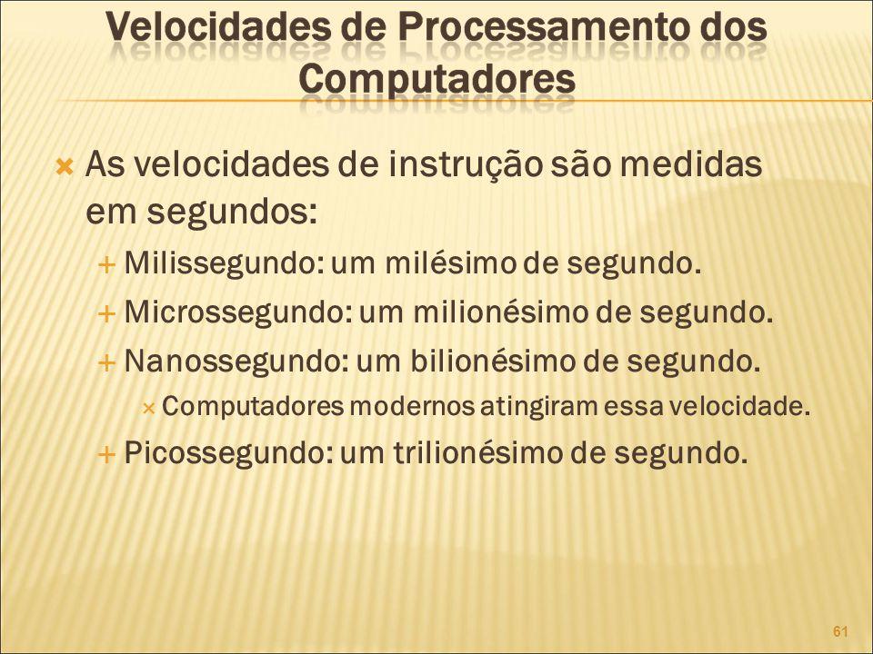 As velocidades de instrução são medidas em segundos: