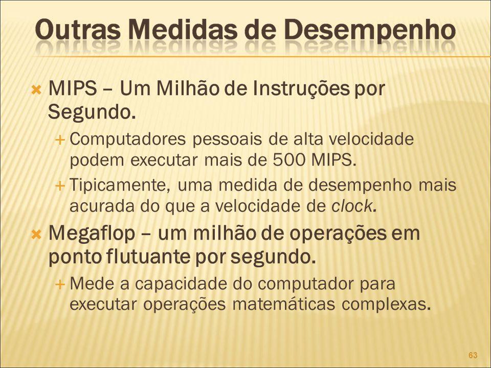 MIPS – Um Milhão de Instruções por Segundo.