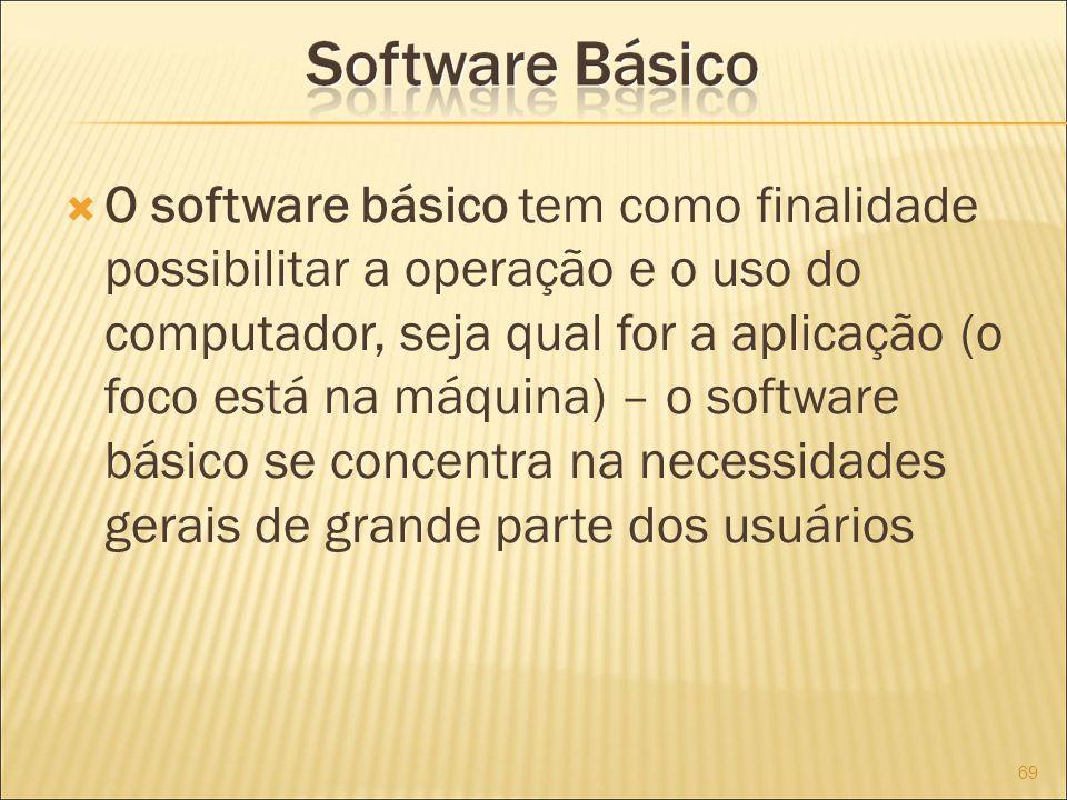 O software básico tem como finalidade possibilitar a operação e o uso do computador, seja qual for a aplicação (o foco está na máquina) – o software básico se concentra na necessidades gerais de grande parte dos usuários