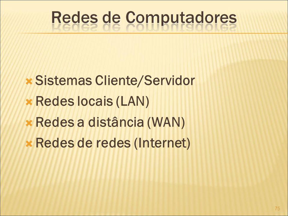 Sistemas Cliente/Servidor Redes locais (LAN) Redes a distância (WAN)