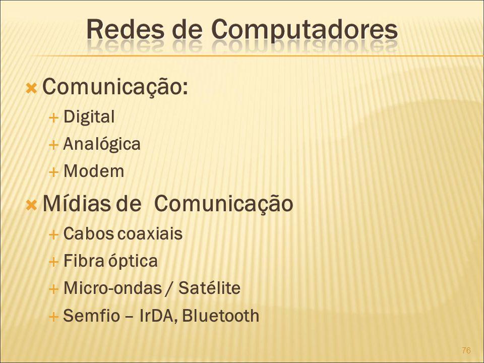 Comunicação: Mídias de Comunicação Digital Analógica Modem