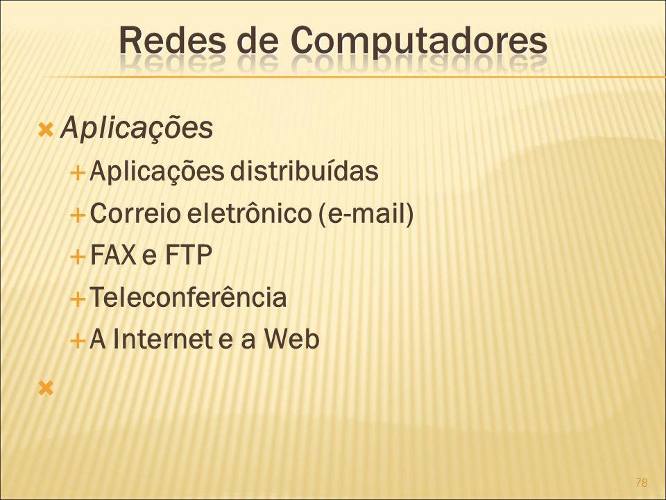 Aplicações Aplicações distribuídas Correio eletrônico (e-mail)