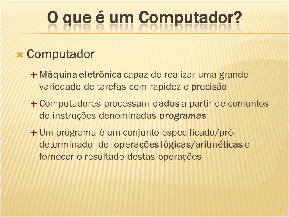 Computador Máquina eletrônica capaz de realizar uma grande variedade de tarefas com rapidez e precisão.