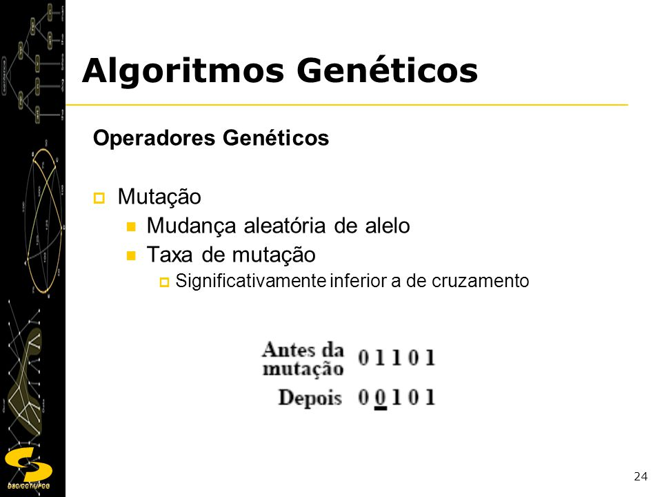Algoritmos Genéticos Operadores Genéticos Mutação