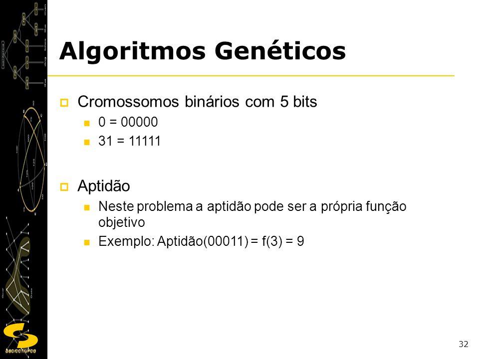 Algoritmos Genéticos Cromossomos binários com 5 bits Aptidão 0 = 00000