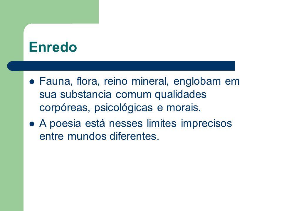 Enredo Fauna, flora, reino mineral, englobam em sua substancia comum qualidades corpóreas, psicológicas e morais.