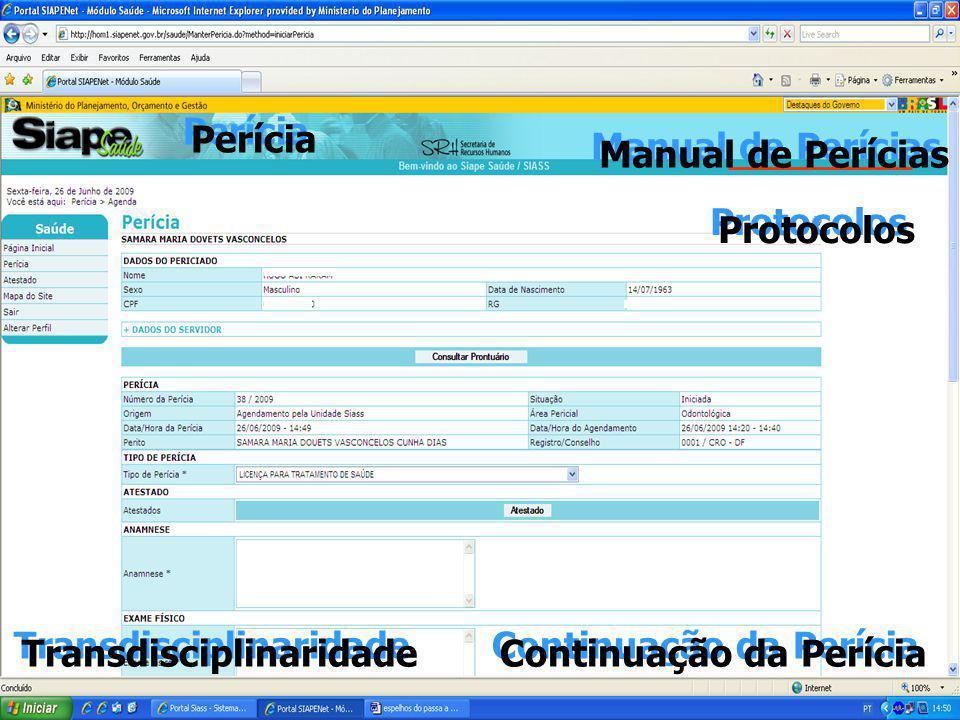 Perícia Manual de Perícias Protocolos Transdisciplinaridade Continuação da Perícia