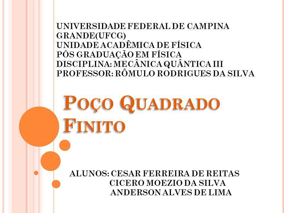 Poço Quadrado Finito UNIVERSIDADE FEDERAL DE CAMPINA GRANDE(UFCG)