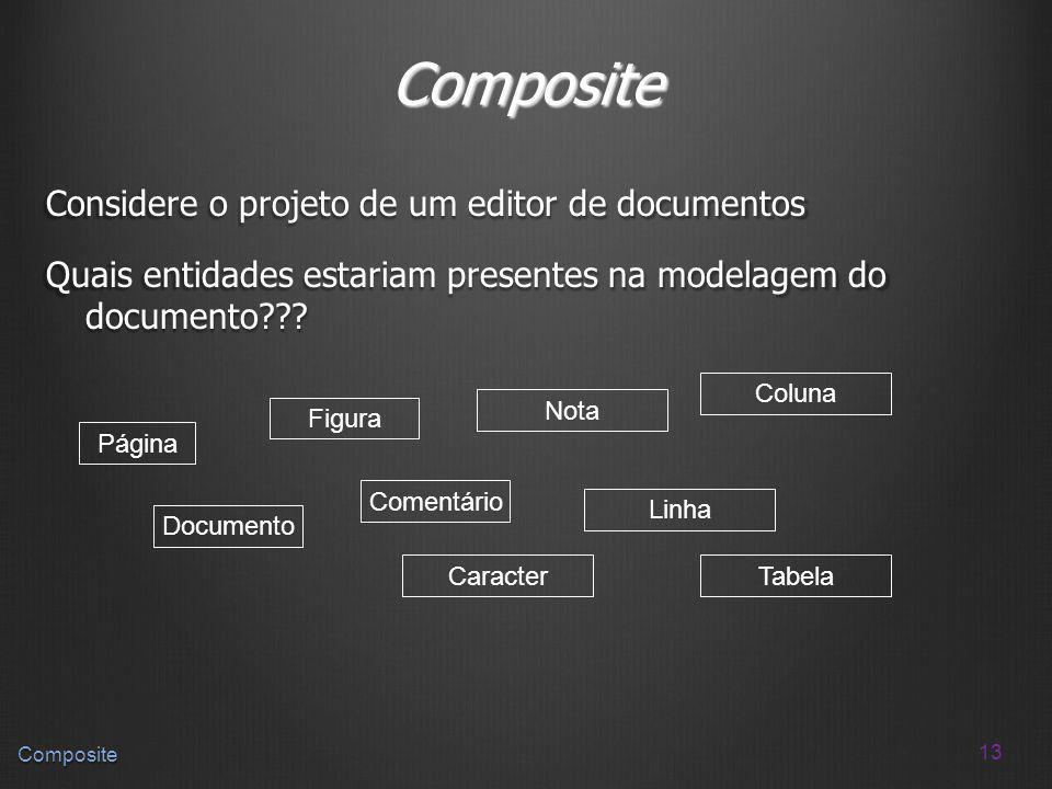 Composite Considere o projeto de um editor de documentos