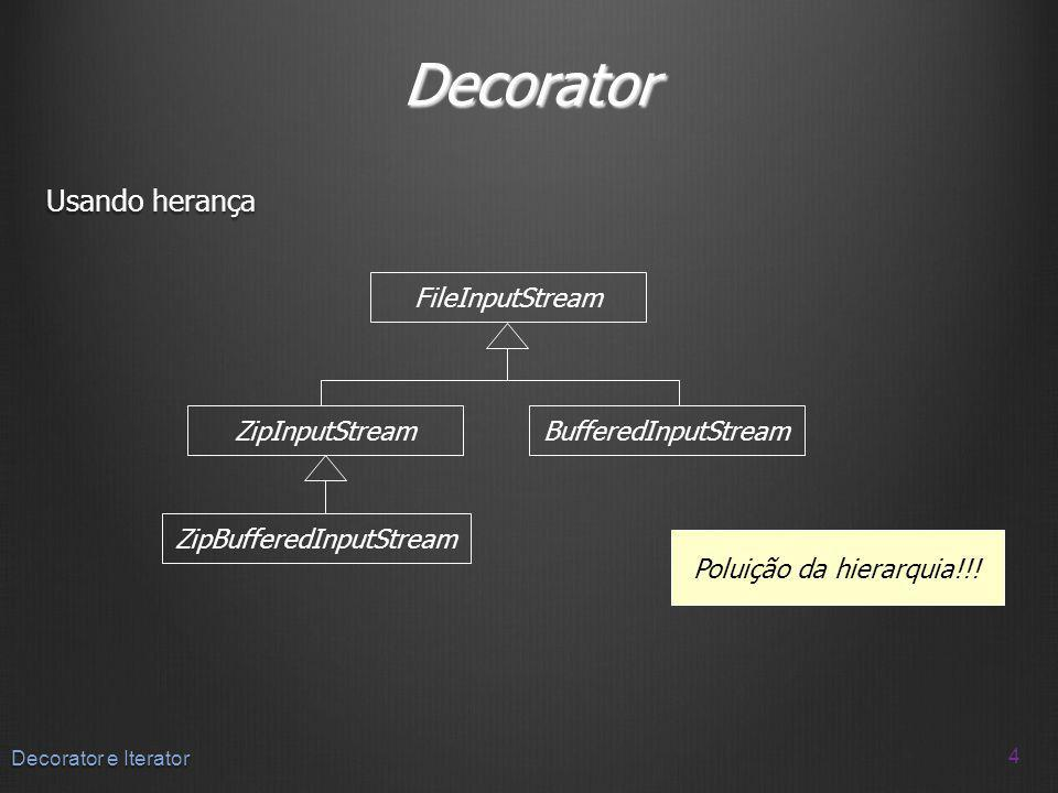 Decorator Usando herança FileInputStream ZipInputStream