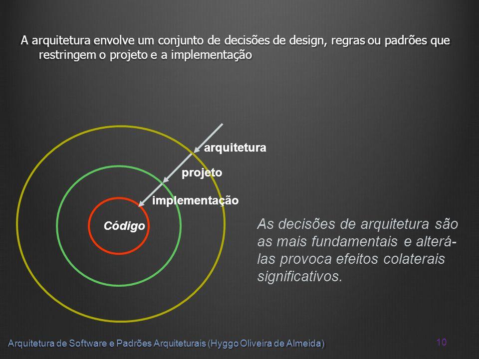 A arquitetura envolve um conjunto de decisões de design, regras ou padrões que restringem o projeto e a implementação