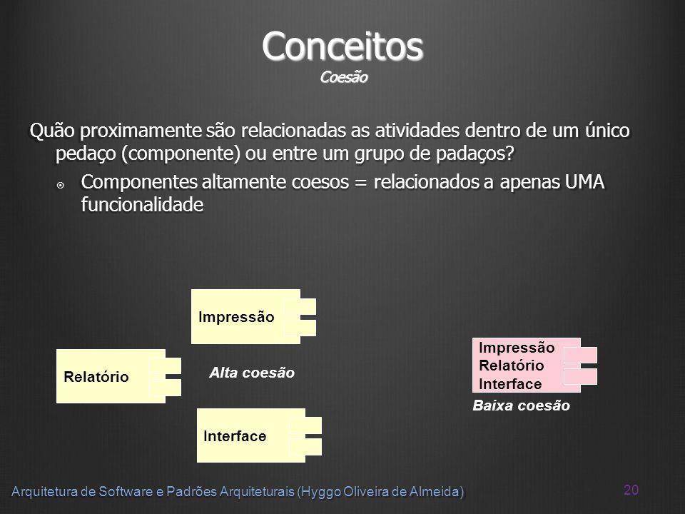 Conceitos Coesão Quão proximamente são relacionadas as atividades dentro de um único pedaço (componente) ou entre um grupo de padaços