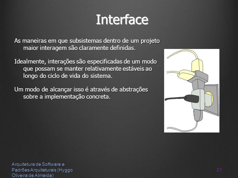 Interface As maneiras em que subsistemas dentro de um projeto maior interagem são claramente definidas.