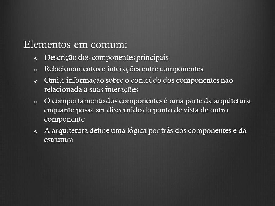 Elementos em comum: Descrição dos componentes principais