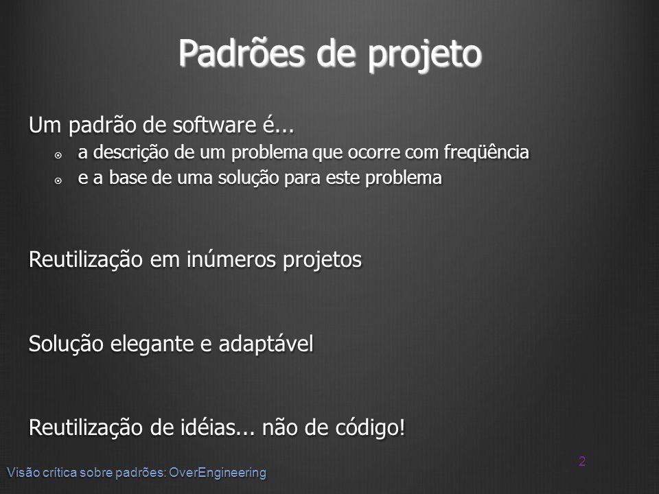 Padrões de projeto Um padrão de software é...
