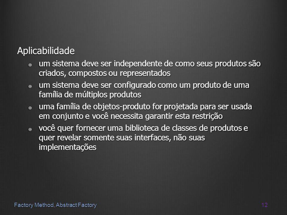 Aplicabilidade um sistema deve ser independente de como seus produtos são criados, compostos ou representados.