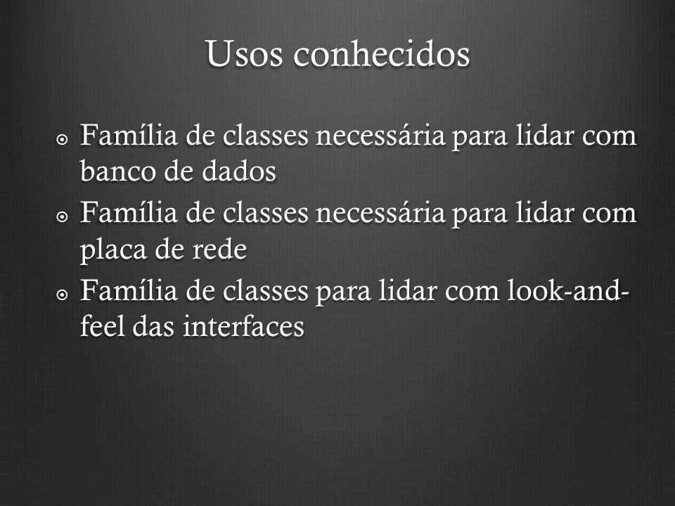 Usos conhecidos Família de classes necessária para lidar com banco de dados. Família de classes necessária para lidar com placa de rede.