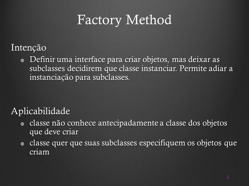 Factory Method Intenção Aplicabilidade