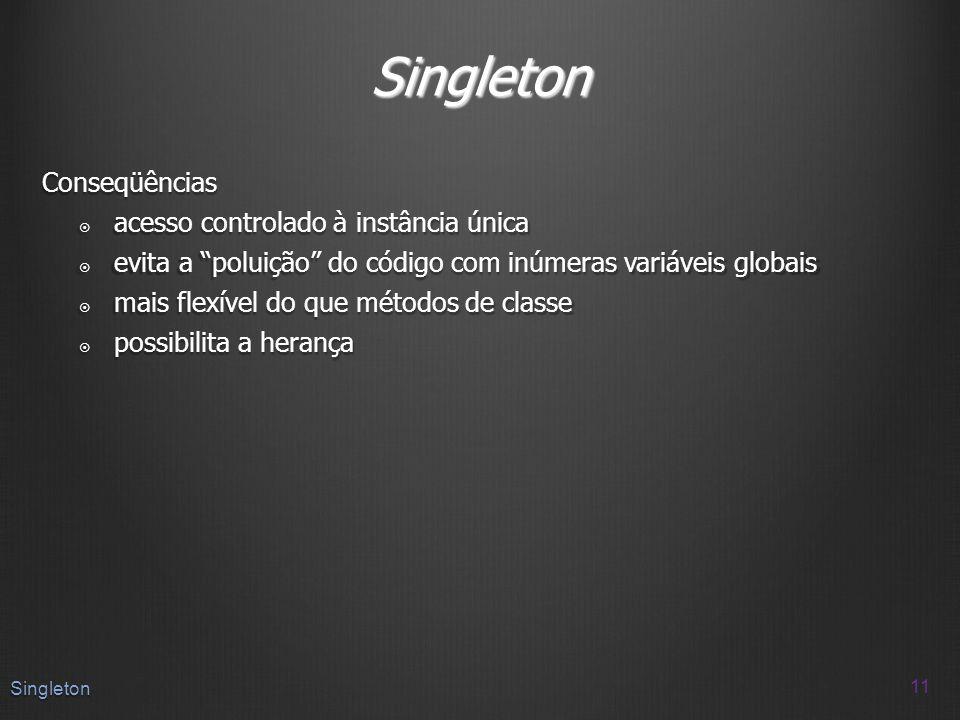 Singleton Conseqüências acesso controlado à instância única