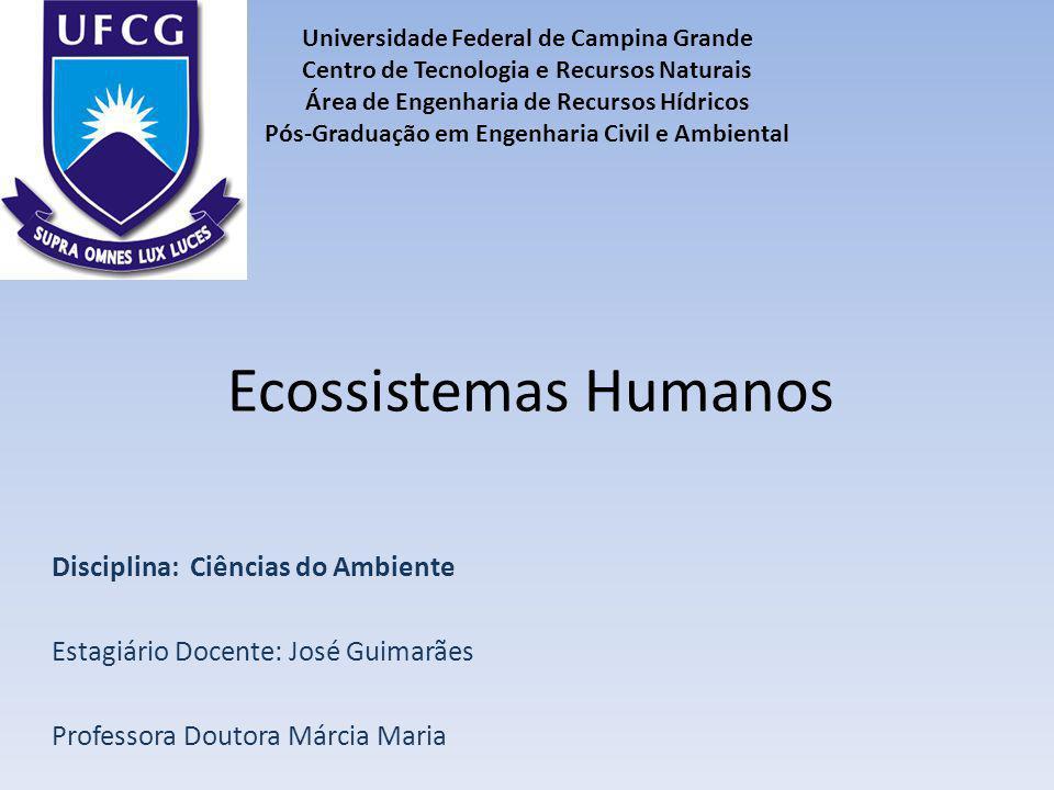 Ecossistemas Humanos Disciplina: Ciências do Ambiente