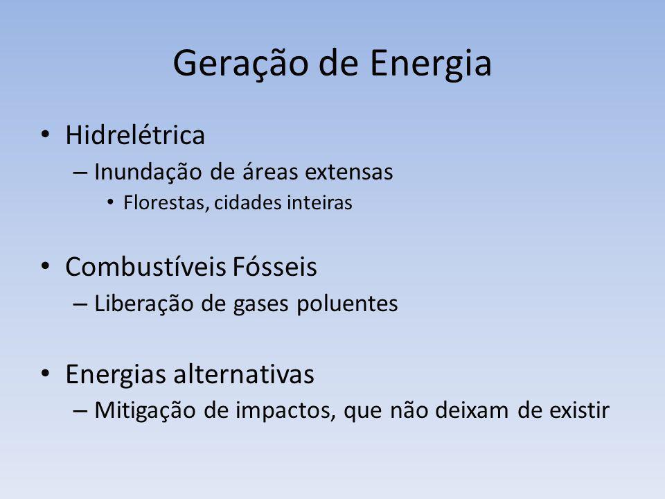 Geração de Energia Hidrelétrica Combustíveis Fósseis
