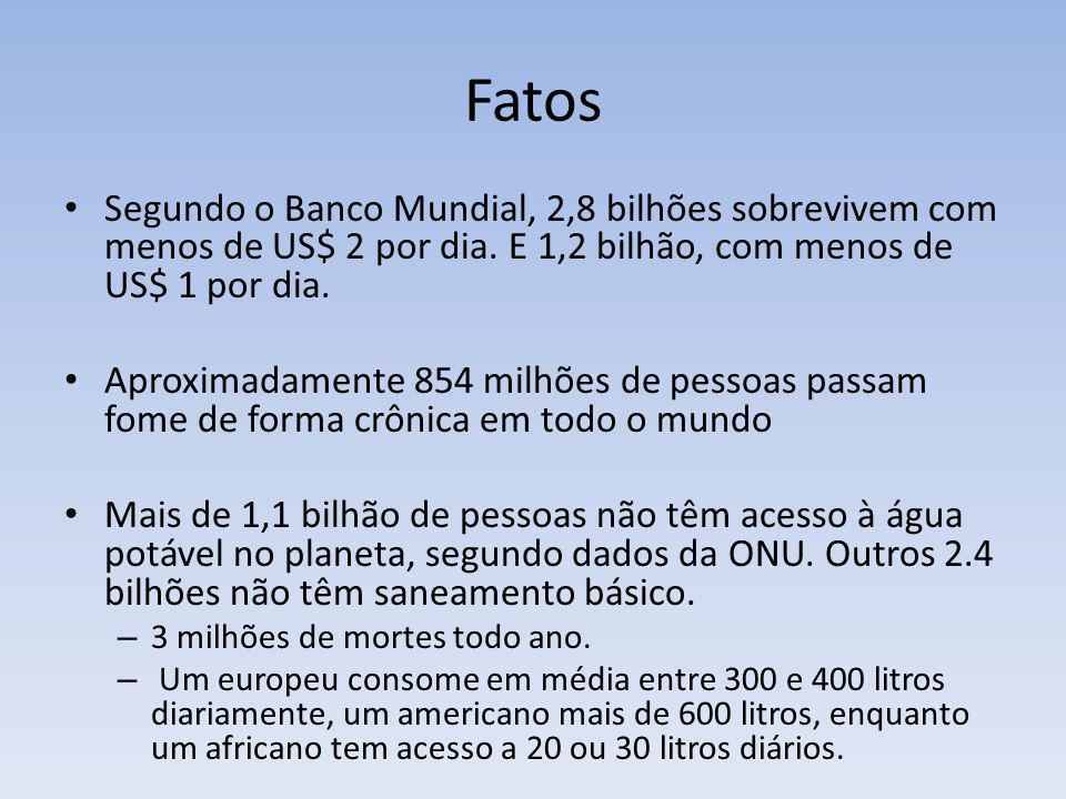 Fatos Segundo o Banco Mundial, 2,8 bilhões sobrevivem com menos de US$ 2 por dia. E 1,2 bilhão, com menos de US$ 1 por dia.