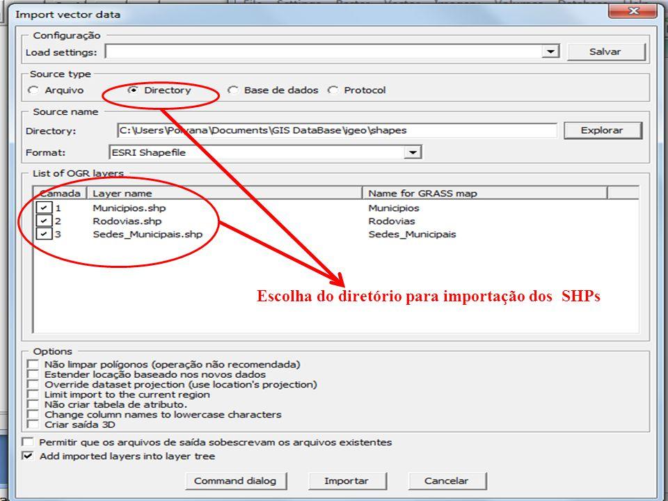 Escolha do diretório para importação dos SHPs