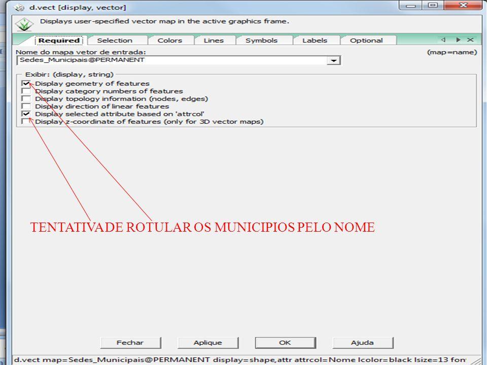 TENTATIVA DE ROTULAR OS MUNICIPIOS PELO NOME