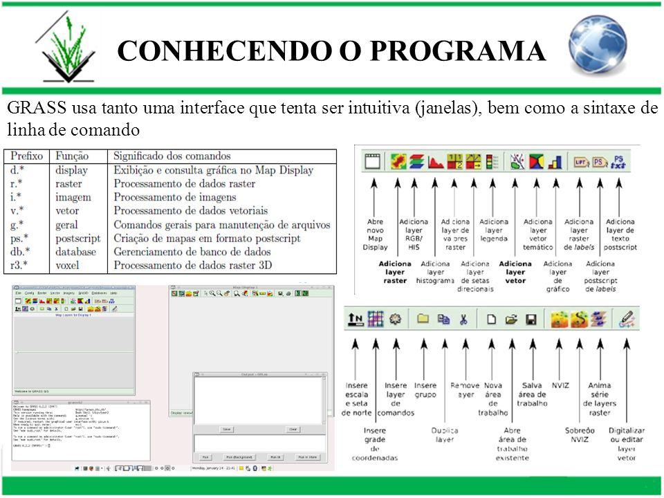 CONHECENDO O PROGRAMA GRASS usa tanto uma interface que tenta ser intuitiva (janelas), bem como a sintaxe de linha de comando.